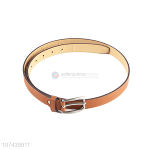 Promotional simple ladies pu belt with alloy pin buckle