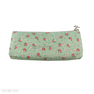 Competitive Price Flowers Printed Lovely Students Pen Bag Zipper Pencil Case