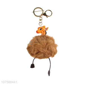 Promotional lovely deer hair ball key chain faux fur ball bag pendants