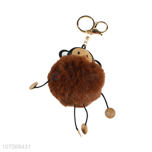 New design fluffy moneky key chain fluffy faux fur ball bag pendants