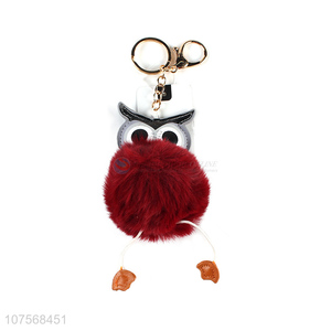 Factory price plush bag pendant pom pom key chain owl key chain