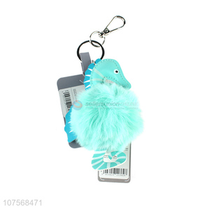 Low price fashion sea horse key chains plush key chain fur ball pendants