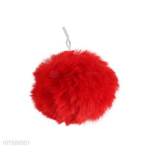 China manufacturer fluffy faux fur key chain pom pom key rings