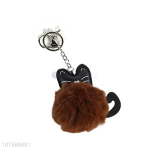 New arrival fluffy cat key chain fluffy faux fur ball bag pendants