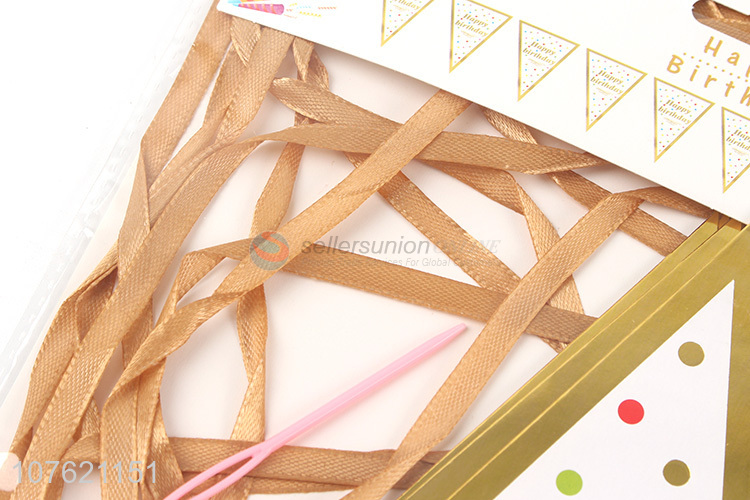 Most popular hot stamping paper pennant banner flags party decoration