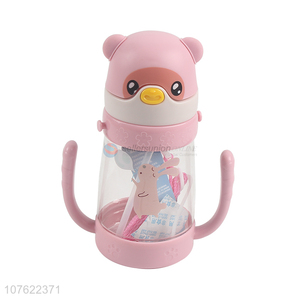 Hot selling 380ml kawaii children straw water bottle with double handles