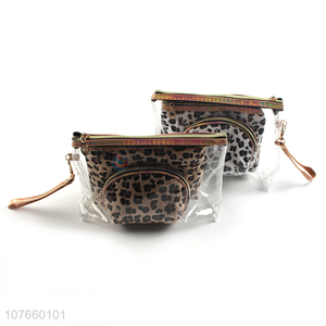 Brown and white leopard print plush style fashion cosmetic bag three-piece set