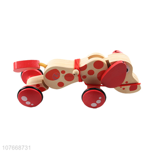 Best Sale Wooden Cartoon Tractors Animals Dog Drag Toy For Kids