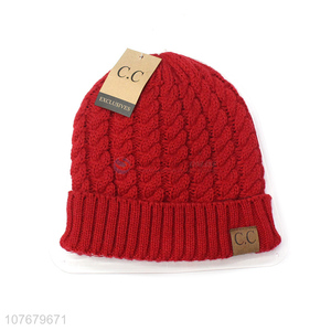 Hot Selling Red Acrylic Winter Beanie Hat Knitted Hat