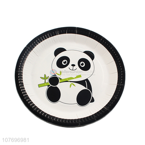 Hot products cartoon panda printed paper plate for birthday party