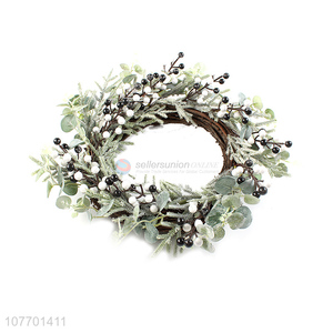 Factory price decorative Christmas wreath with artificial berries