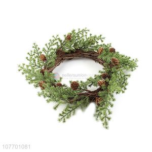 Promotional artificial pine needle wreath for Christmas decoration