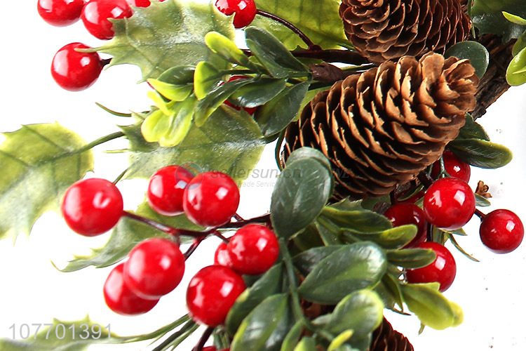 High quality Christmas door decoration artificial wreath with pinecone