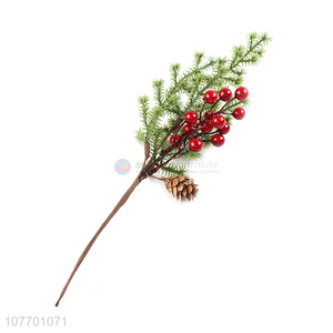 Wholesale cheap artificial Christmas twigs with pinecone & red fruit