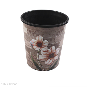 Fashion Printing Plastic Garbage Bin Round Trash Can For Sale