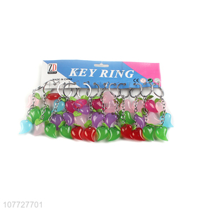 Popular products colorful acrylic heart key chain key ring ornaments