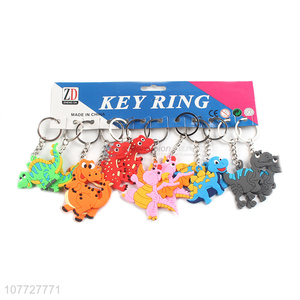 Hot sale flat pvc key chain dianosuar key chain for kids