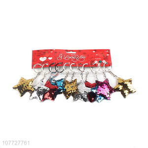 Good quality reflective sequin star key chain women bag pendants