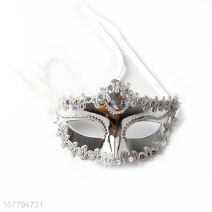 Hot sale ladies venice mask sequined party mask with feather