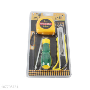 Wholesale combination hand tools measuring tape snap-off knife screwdriver set