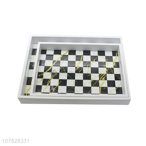 Latest product rectangular chessboard glass serving tray table tray