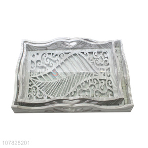 China supplier hollow rectangular glass serving tray hotel serving tray