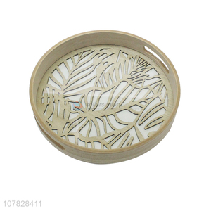 Hot sale laser cut round glass serving tray fast food serving tray