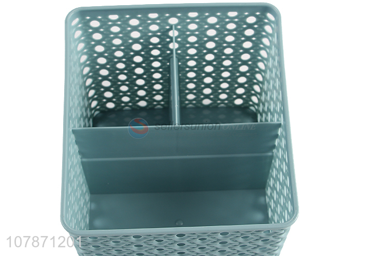 Wholesale 3 compartments tabletop plastic storage box for home and office