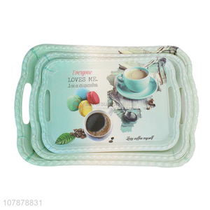 Fashion Design 3 Pieces Colorful Serving Tray Set For Coffee