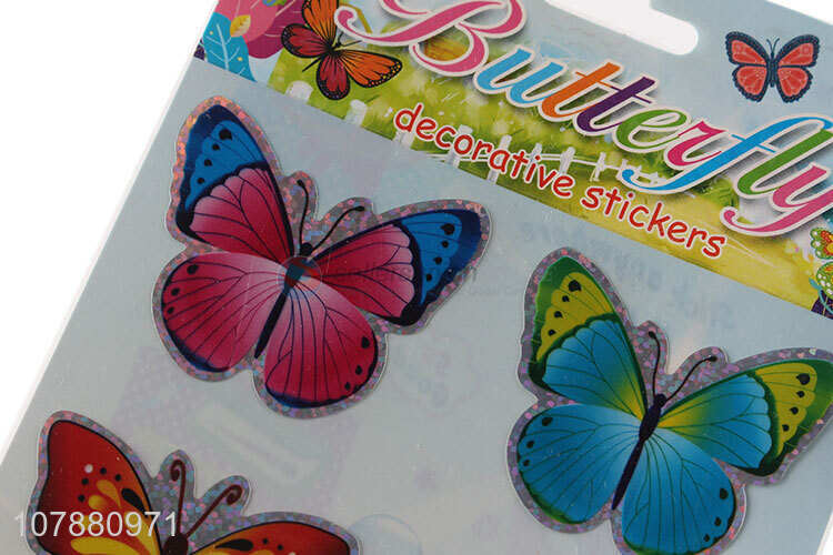 High quality multicolor butterfly sticker cartoon flat sticker