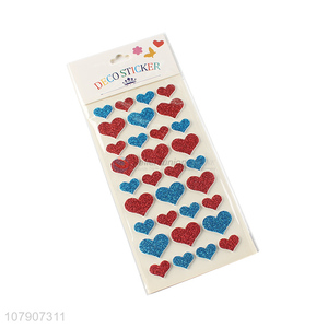 Factory direct sale multi-color heart-shaped glitter stickers