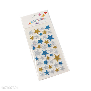 Good wholesale price five-pointed star glitter stickers for children