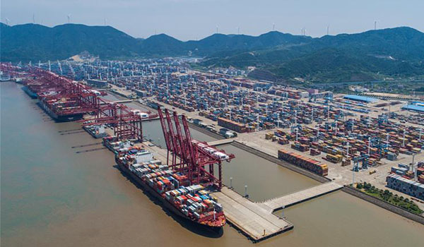 Aerial photo taken on July 12, 2017 shows the container pier of Zhoushan Port in Ningbo City, east China's Zhejiang Province.